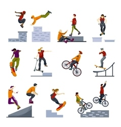 Extreme city sports flat icons set vector