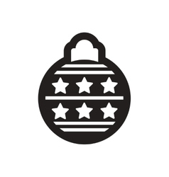 Flat icon in black and white christmas balls vector