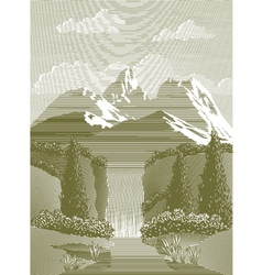 Woodcut waterfall vector