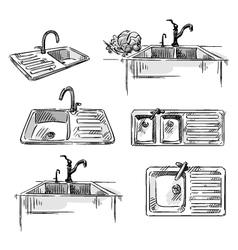 Set of kitchen sinks vector