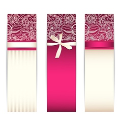 Banner set with bow and lace vector image