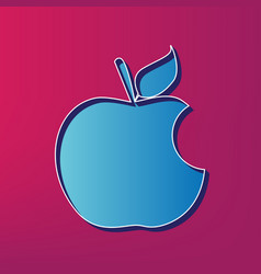 Bite apple sign blue 3d printed icon on vector
