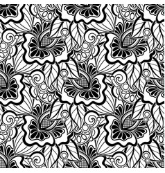Black and white seamless pattern with floral vector