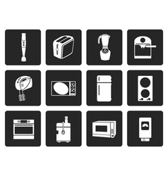 Black Kitchen and home equipment icons vector image
