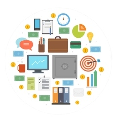 Business icons circle composition vector image