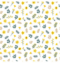 cute floral seamless pattern with leaves and vector image vector image