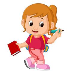 cute girl go to school vector image vector image