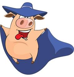 Cute Pig in Superhero Costume vector image vector image