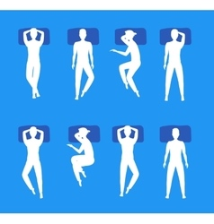 Different Sleeping Poses Set White Silhouette vector image