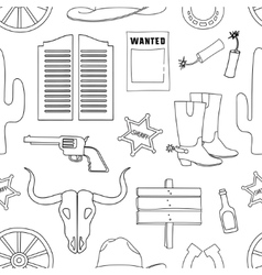 Doodle pattern wild West vector image