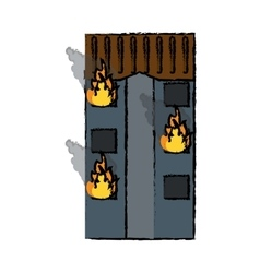 Drawing fire building residential emergency vector