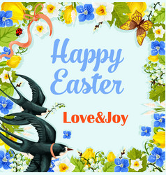 Easter flower wreath poster with swallows vector