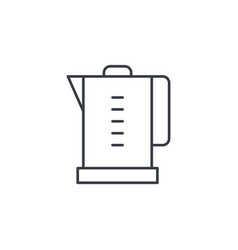 Electric kettle thin line icon linear vector