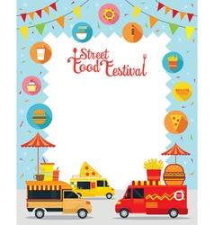 Food truck street food festival poster frame vector