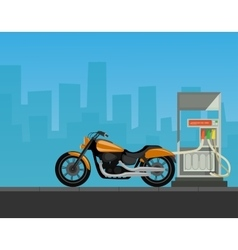 Gas station with motorcycle in city background vector image