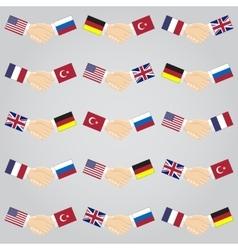 handshake between countries vector image vector image
