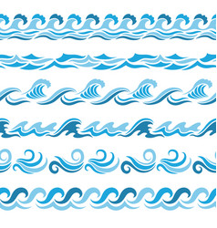 horizontal seamless patterns with stylized blue vector image