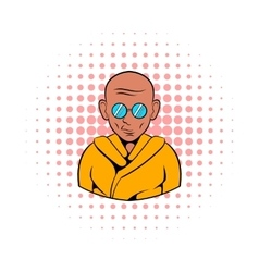 Indian monk in sunglasses icon comics style vector
