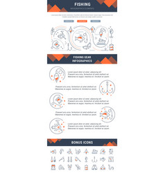 line and flat infographics of fishing vector image