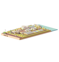 Low poly wastewater treatment plant vector