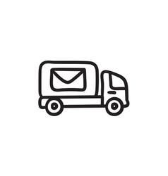 Mail van sketch icon vector