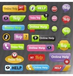 Online help buttons vector