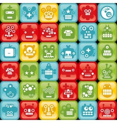 Robot on buttons seamless background vector image vector image