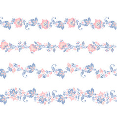 seamless floral borders elements flower vector image