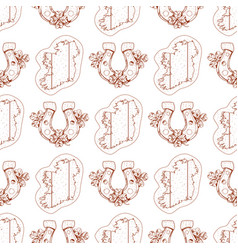 Seamless pattern with contour map and horseshoe vector