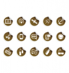 wireless icons sticky series vector image vector image