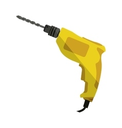 yellow drill icon tool with wired vector image