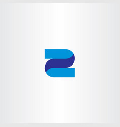 Z 2 letter or number icon blue logo vector