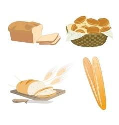 Set of cartoon food bread vector image