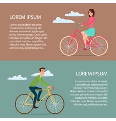 Man and woman ride on bicycle cartoon poster vector