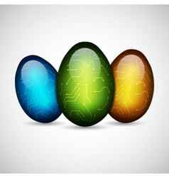 Technology easter eggs vector image