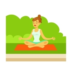 Woman doing yoga exercises and medtating in lotus vector