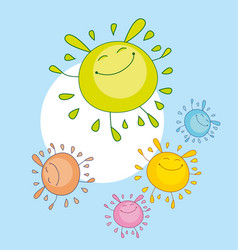 Tender color funny mascot bubble shape sun rabbit vector
