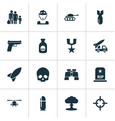 Army icons set collection of target military vector