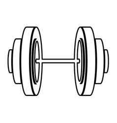 monochrome contour of dumbbell icon vector image