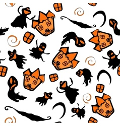 Haunted halloween witch house texture vector