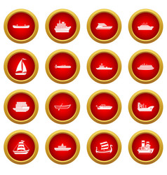 Sea transport icon red circle set vector
