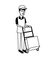 Delivery man with cardboard box and push cart vector