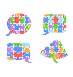 Puzzle speech bubbles vector