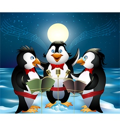 Night song of penguins vector
