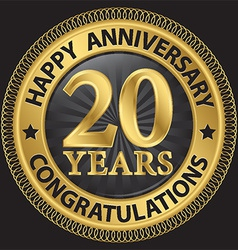 20 years happy anniversary congratulations gold vector