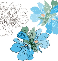 Blue mallow color and stencil version vector