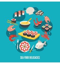 Sea food delicacies vector image