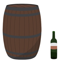 Wine barrel and bottle vector