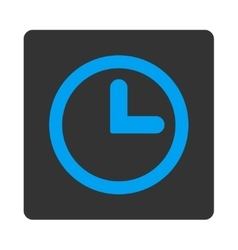 Clock flat blue and gray colors rounded button vector