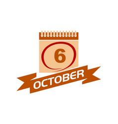 6 october calendar with ribbon vector